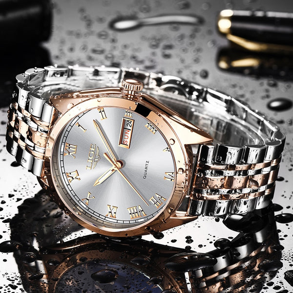 2019 LIGE New Rose Gold Women Watch Business Quartz Watch Ladies Top Brand Luxury Female Wrist Watch Girl Clock Relogio Feminin - Modemoven