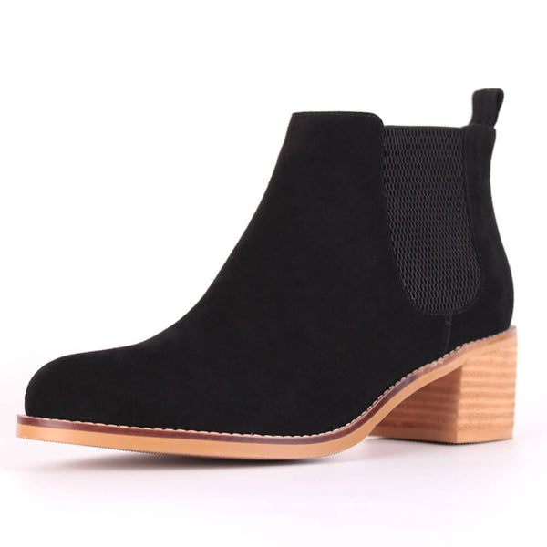 Modemoven Elastic-Design Leather Ankle Boots (black) - Modemoven