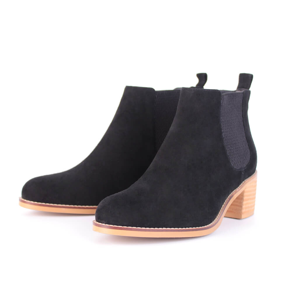 Modemoven Elastic-Design Leather Ankle Boots (black)