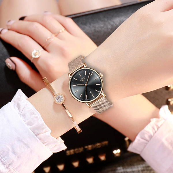 LIGE Womens Watches Top Brand Luxury Waterproof Watch Fashion Ladies Stainless Steel Ultra-Thin Casual  Wristwatch Quartz Clock - Modemoven