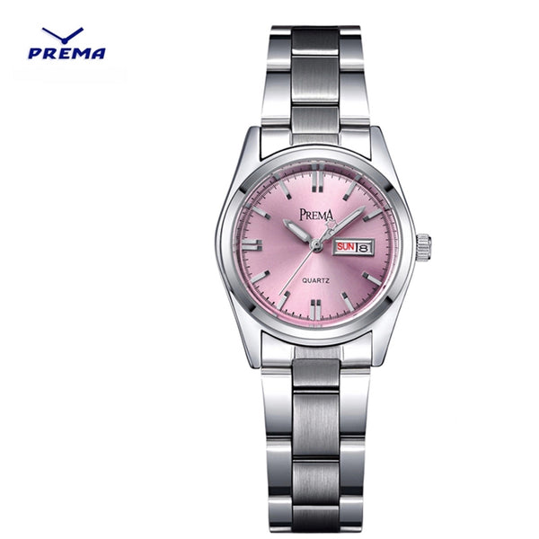 PREMA women watches 2020 brand fashion female clock wrist watch stainless steel waterproof Ladies Quartz dress Wristwatches pink - Modemoven