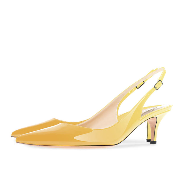 Modemoven Pointed Toe Slingback Pumps (Yellow/Light Purple)