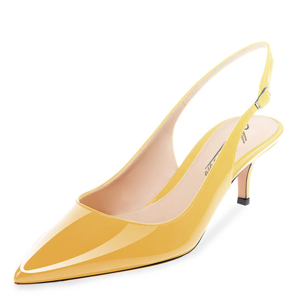 Modemoven Pointed Toe Slingback Pumps (Yellow/Light Purple) - Modemoven