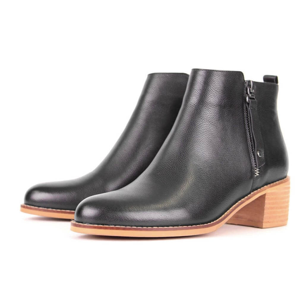Modemoven Black Leather Ankle Boots