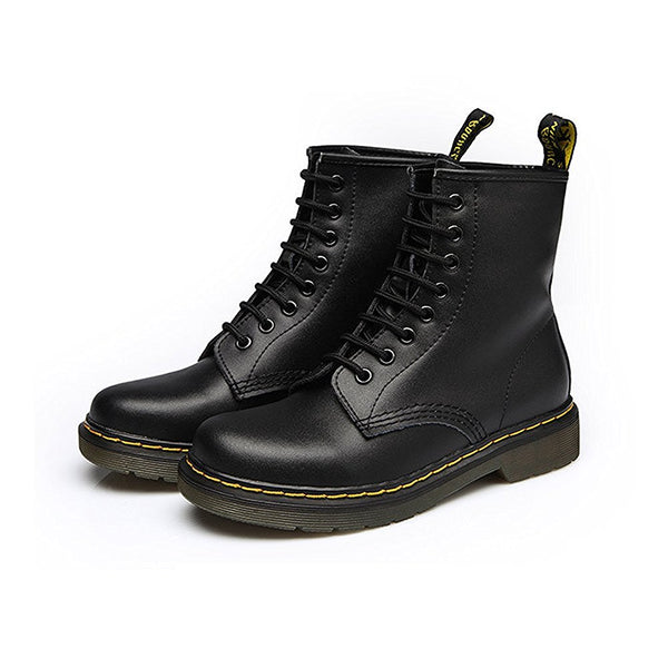 Modemoven Leather Lace-up Ankle Boots - Modemoven