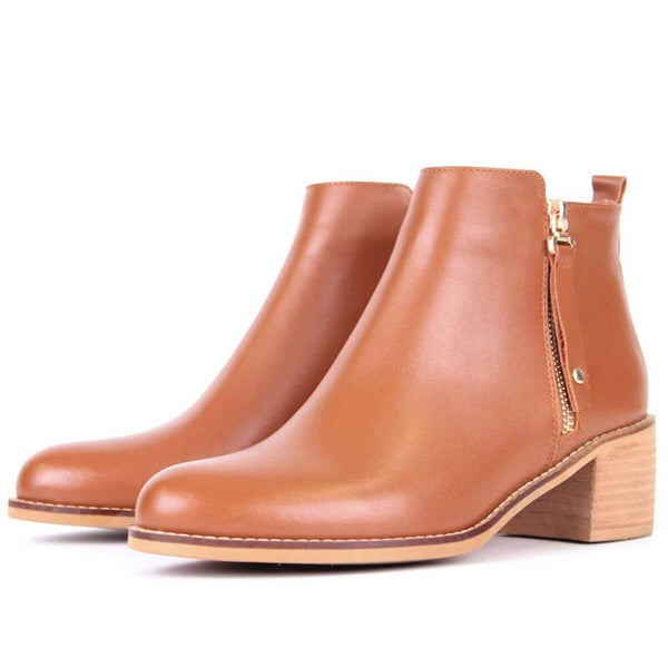 Modemoven Brown Leather Ankle Boots