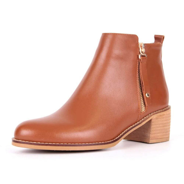 Modemoven Brown Leather Ankle Boots - Modemoven