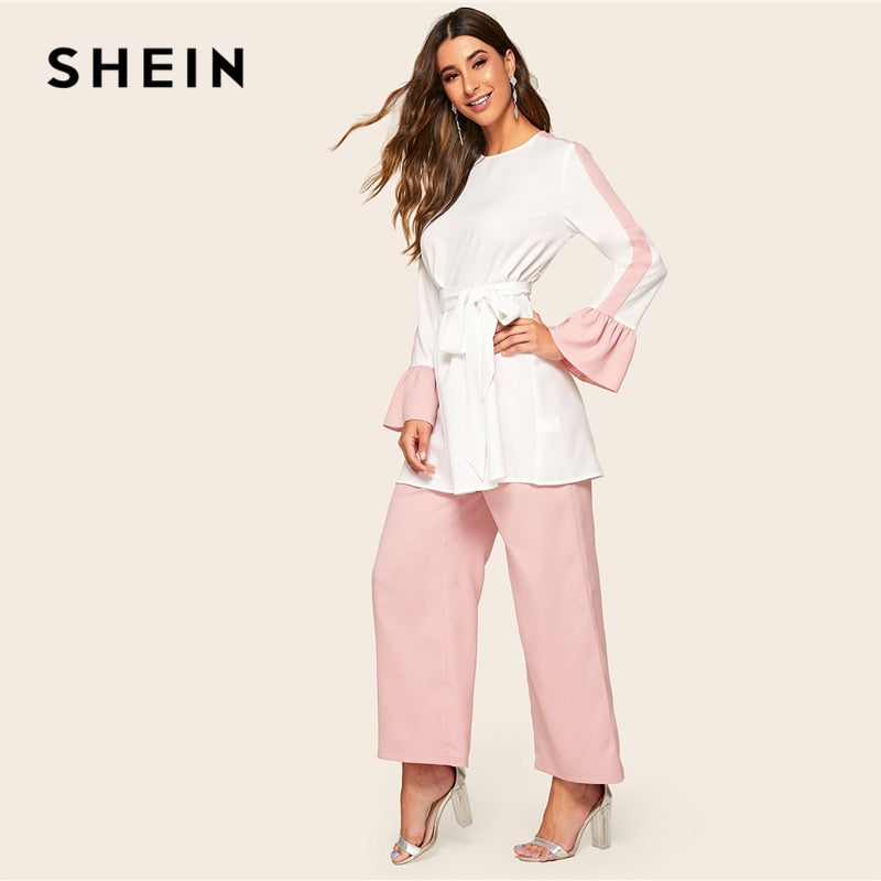 SHEIN Abaya Elegant Two Tone Self Belted Top and Wide Leg Pants 2 Piece Set Women 2019 Spring Autumn Long Blouse Two Piece Set - Modemoven