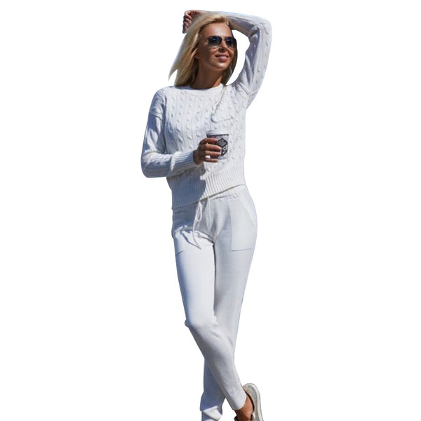 MVGIRLRU Women sweater suit Casual Knitted Sweaters Pants 2 Piece Set Female Tracksuits - Modemoven