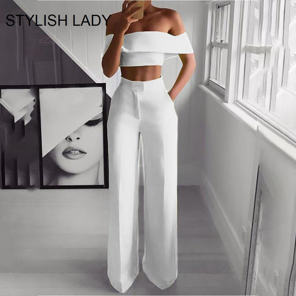 STYLISH Lady Neon Green 2 Piece Set Women Solid Off the Shoulder Crop Top and Wide Leg Pants 2019 Sexy Summer Two Piece Outfits - Modemoven