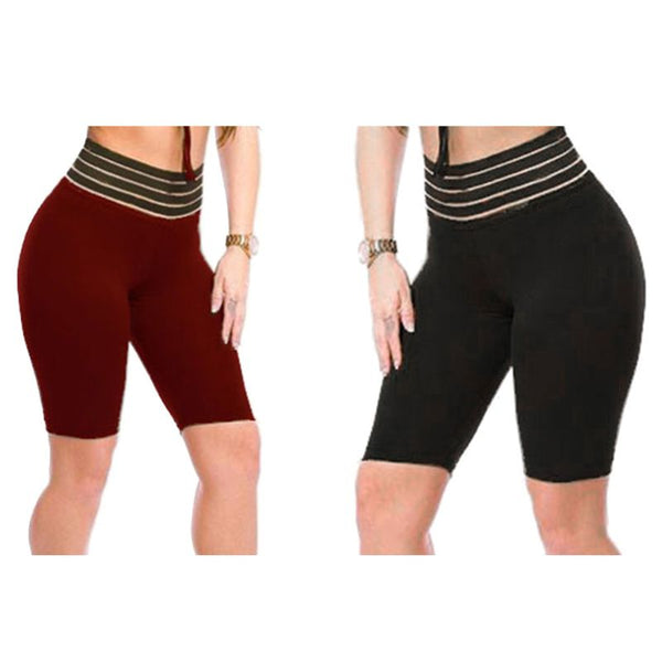 Women High Waist Striped Tummy Control Skinny Sport Shorts Lady 2019 Solid Color Ruched Butt Lift Biker Shorts Fitness - Modemoven