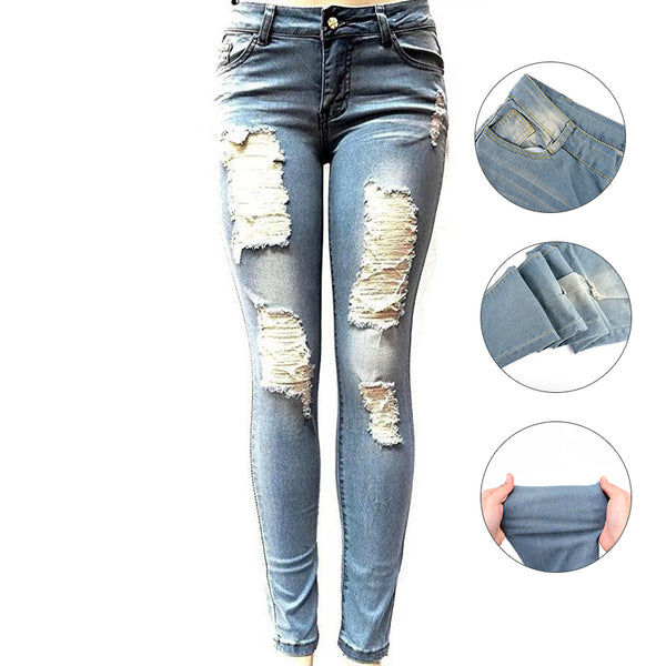 Woman Denim Pants Trousers Light Blue Dark Blue Stretchy Ripped Jeans For Women Pencil Skinny Jeans - Modemoven