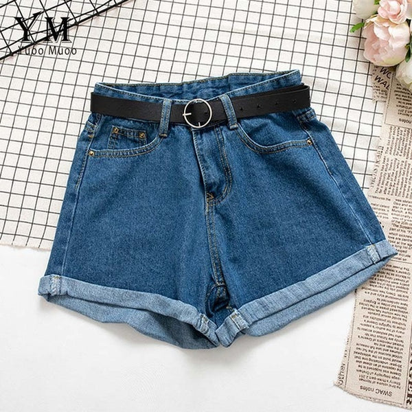 YuooMuoo All Match Sashes Casual Women Denim Shorts Crimping High Waist Slim Summer Jeans Shorts Feminino Chic Hot Ladies Bottom - Modemoven