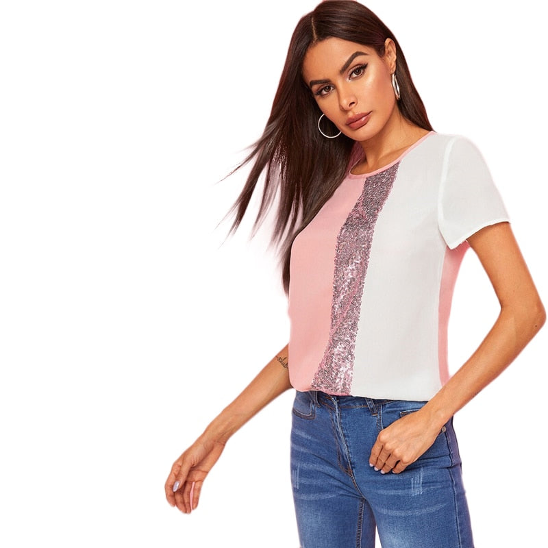 SHEIN Sequins Contrast Panel Spliced Cut-And-Sew Top Womens Tops and Blouses 2019 Casual Colorblock Short Sleeve Summer Blouses - Modemoven