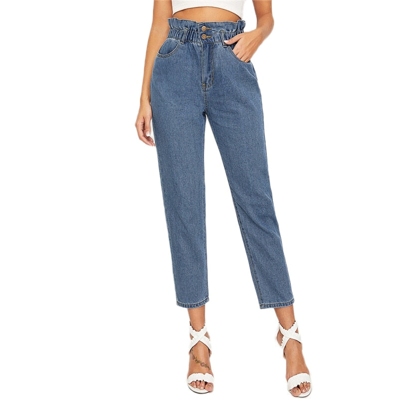 SHEIN Ruffle Waist Crop Tapered Jeans Woman 2019 Casual Blue High Waist Jeans Elastic Waist Crop Denim Pants Ladies Jeans - Modemoven