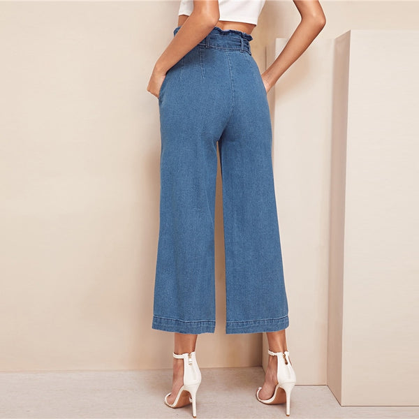 SHEIN Blue High Waist Wide Leg Belted Crop Jeans Women Spring Casual Elegant Denim Trousers Workwear Solid Straight Pants Jeans - Modemoven