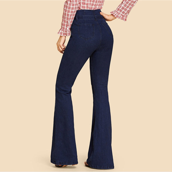 SHEIN Navy High Waist Vintage Long Flare Leg Belted Jeans Women Tie Waist Zipper Fly Retro Stretchy Black Denim Pants 4 Colors - Modemoven