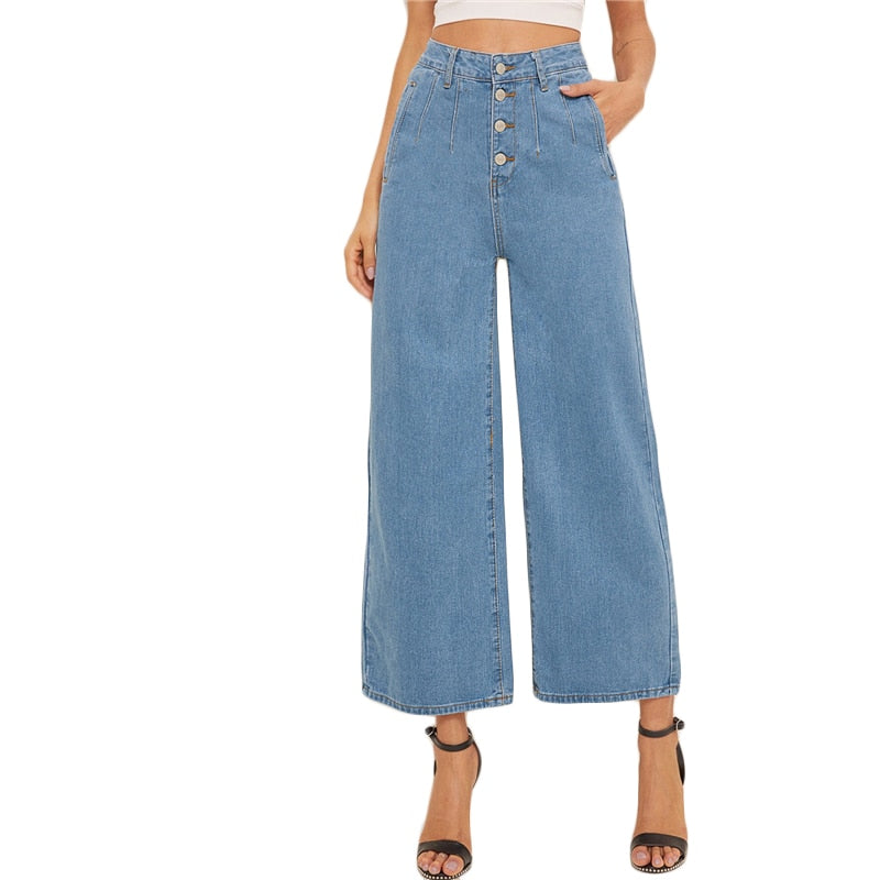 SHEIN Blue Button Fly Loose Wide Leg Denim Jeans Women Summer Autumn Solid High Waist Crop Casual High Street Ladies Jeans - Modemoven