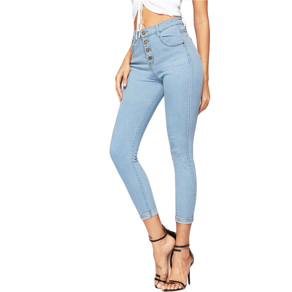 SHEIN Blue Button Front Ankle Skinny Casual Jeans Woman Spring Summer Mid Waist Crop Pencil Jeans High Street Ladies Denim Pants - Modemoven