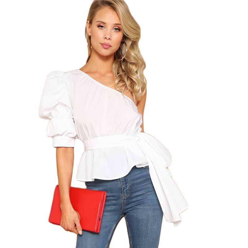 Sexy One Shoulder Puff Sleeve Peplum Knot Belted Top Blouse Women Summer 2019 Solid Ruffle Elegant Party Blouses - Modemoven