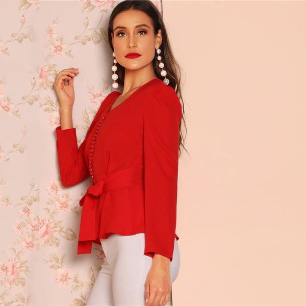 Red Button Detail Knot V-Neck Peplum Top Long Sleeve Puff Shoulder Blouse Women Spring Plain Workwear Tops and Blouses - Modemoven