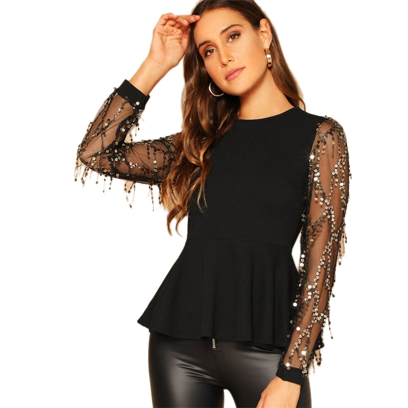 Sequin Mesh Sleeve Peplum Ruffle Hem Top Long Sleeve Round Neck Womens Going Out Tops and Blouses 2018 Ladies Tops - Modemoven