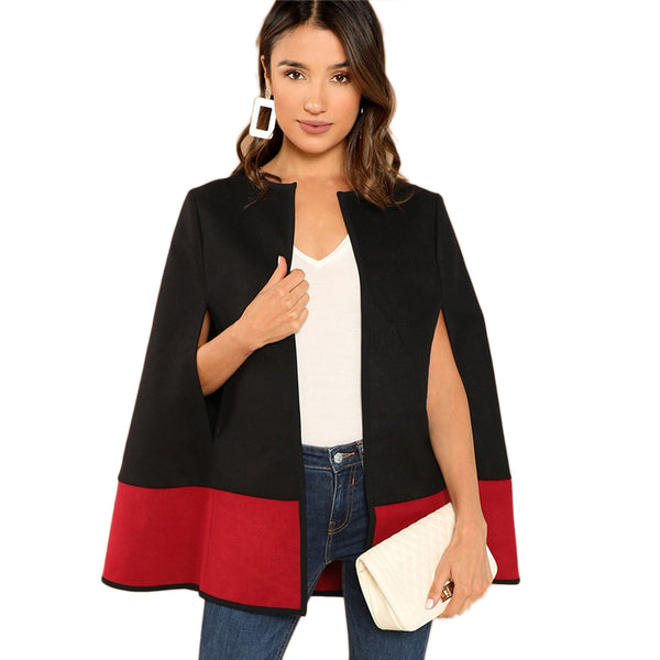 Weekend Casual Black Round Neck Two Tone Open Front Cloak Sleeve Cape Coat 2018 Streetwear Modern Lady Outerwear Coat New - Modemoven