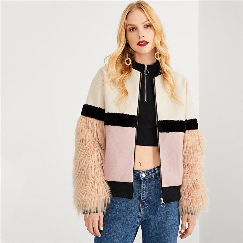 Multicolor Highstreet Office Lady Zip Up Faux Fur Sleeve Plaid Notched Coat 2018 Autumn Elegant Women Coat Outerwear - Modemoven