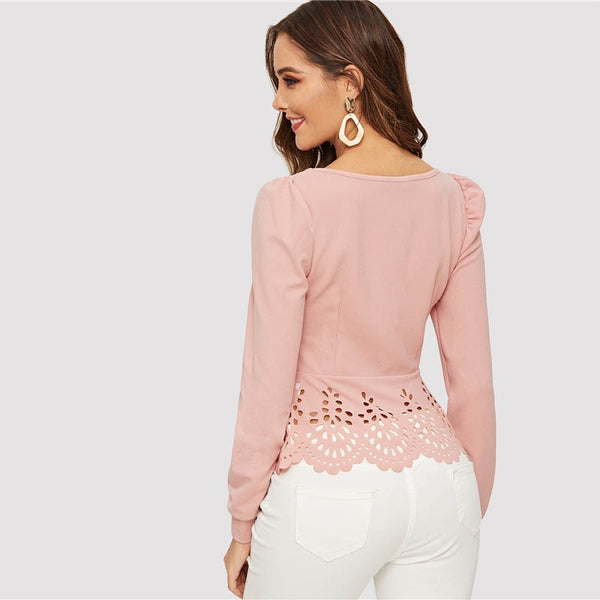 Button up Hollow out Square Collar Peplum Hem Puff Sleeve Blouse Women Tops and Blouses Spring Elegant Slim Fit Top - Modemoven