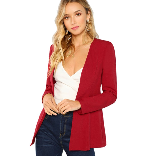 Burgundy Pearl Beaded Hook And Eye Blazer Elegant Longline Workwear Coat Women Autumn Long Sleeve Plain Outerwear - Modemoven