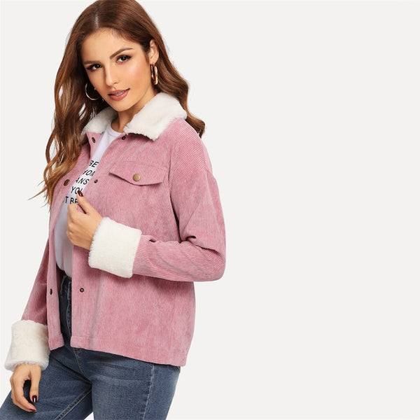 Pink Contrast Faux Fur Detail Drop Shoulder Collar Jacket Autumn Single Breasted Casual Elegant Women Coat Outerwear - Modemoven