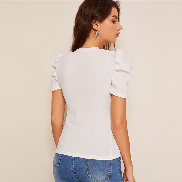 Mock-Neck Puff Sleeve Button Front White Blouse Ladies Tops Summer Elegant Slim Fit Solid Short Sleeve Blouse Top - Modemoven