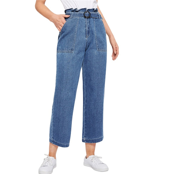 SHEIN Paperbag Waist Ring Belted Wide Leg Jeans 2019 Ruffle Waist Culotte Jeans With Belt Blue High Waist Women Trousers - Modemoven