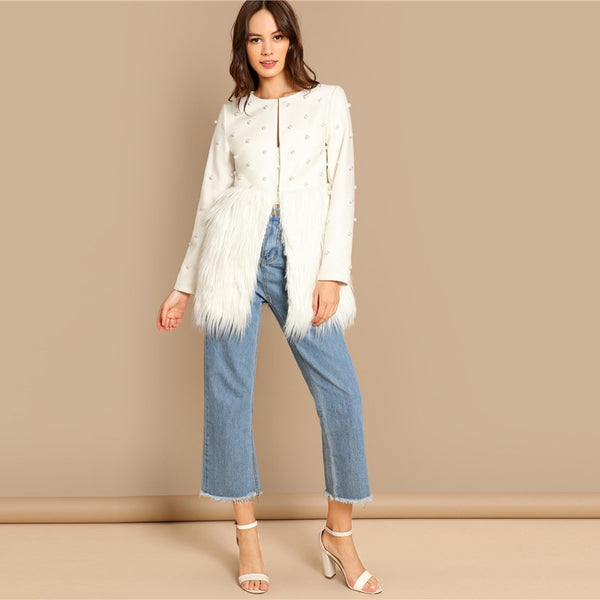 Office Lady Solid Pearl Embellished Faux Fur Round Neck Jacket Autumn Workwear Casual Women Coat And Outerwear - Modemoven