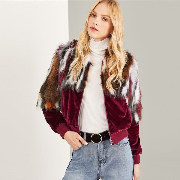 Multicolor Elegant Office Lady Zipper Up Colorful Faux Fur Jacket 2018 Autumn Streetwear Workwear Women Coat Outerwear - Modemoven