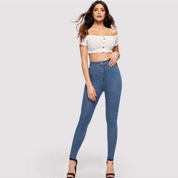 SHEIN Solid Skinny Jeans 2019 Spring Autumn Skinny Stretchy Jeans Blue Navy Woman Solid High Waist Denim Long Trousers - Modemoven