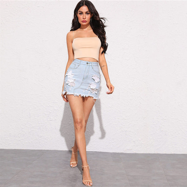Pastel Blue Frayed Edge Ripped Detail Denim Skirts Womens Summer Zip Fly Bodycon Mid Waist Casual Mini Pencil Skirt - Modemoven