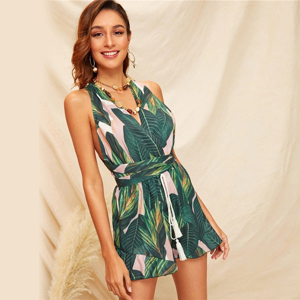SHEIN Boho Green Crisscross Tie Back Tassel Drawstring Tropical Romper Women Summer Sleeveless Playsuit Sexy Beach Style Rompers - Modemoven