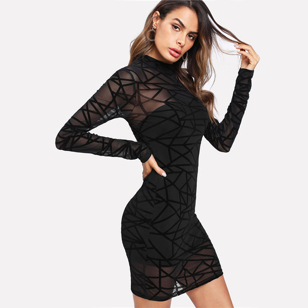 Mesh Overlay Transparent Bodycon Mini Dresses - Modemoven