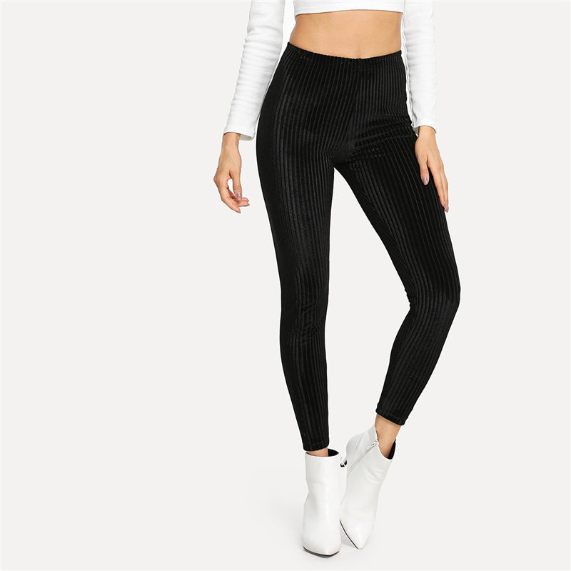 Black Casual Solid Velvet Ribbed Plain High Waist Crop Slim Streetwear Leggings Women Autumn Leisure Modern Lady Leggings - Modemoven