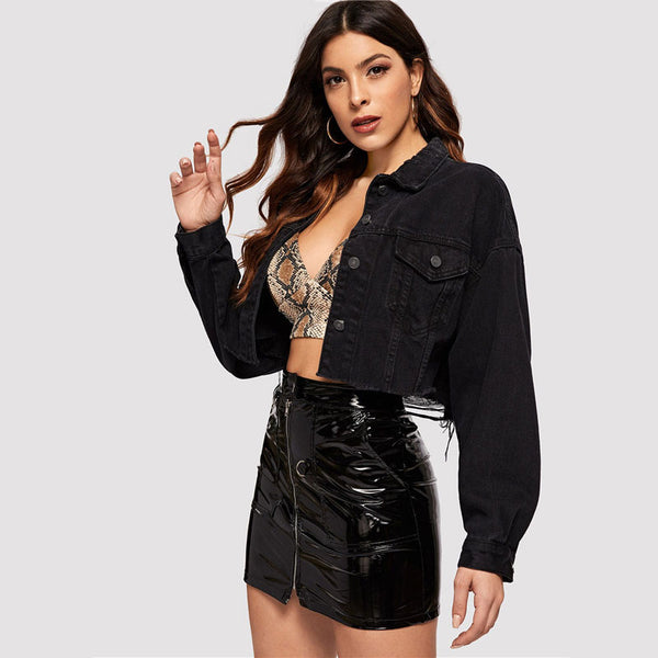 Drop Shoulder Pocket Ripped Crop Denim Jacket Women Spring Casual Long Sleeve Black Jacket Ladies Single Breast Coat - Modemoven