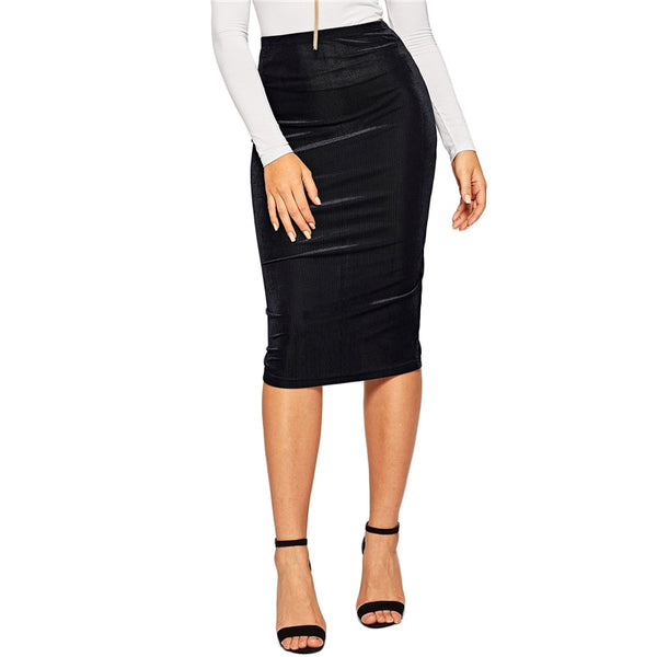 Black Elastic Waist Rib-Knit Solid Knee Length Mid Waist Bodycon Pencil Skirt Women Autumn Elegant Office Ladies Skirts - Modemoven