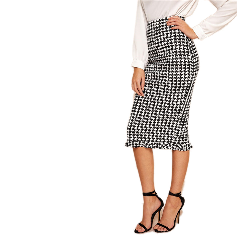 Black And White Ruffle Hem Bodycon Houndstooth Sheath Skirt Womens Spring Elegant Casual High Waist Straight Long Skirt - Modemoven