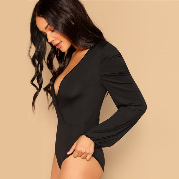 Women Black Deep V Neck Slim Fitted Solid Bodysuit Modern Lady Spring Out Going Sexy Lantern Long Sleeve Bodysuits - Modemoven