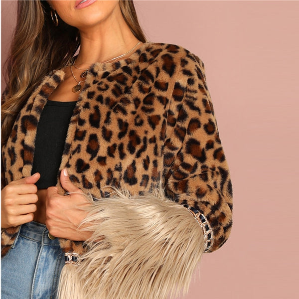Casual Multicolor Modern Lady Contrast Faux Fur Leopard Long Sleeve Coat 2018 Autumn Women Highstreet Party Outerwear - Modemoven
