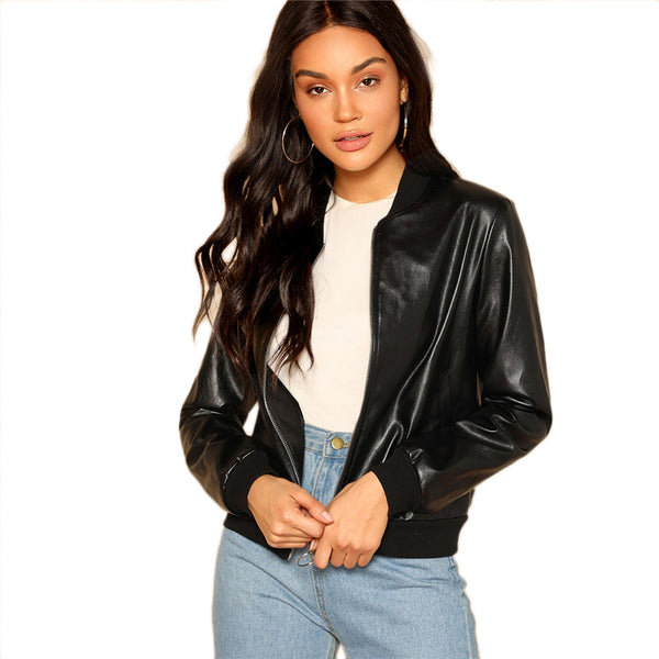 Black Zip Up Faux Leather Bomber Jacket Casual Stand Collar Pocket Plain Outerwear 2019 Women Streetwear Going Out Coats - Modemoven