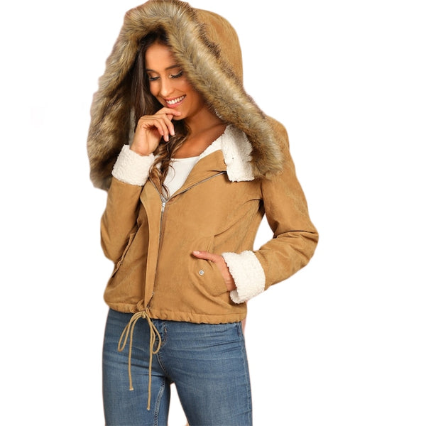 Khaki Casual Drawstring Hem Pocket Faux Fur Zipper Up Hooded Jacket Autumn Thermal Leisure Women Coat And Outerwear - Modemoven