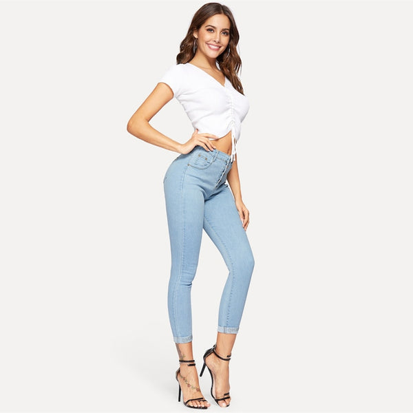 Sheinside Blue Button Detail Skinny Jeans Women 2019 Spring Solid Mid Waist Stretchy Jeans Ladies Casual Denim Crop Trousers - Modemoven