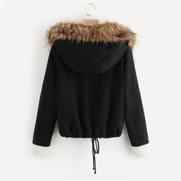 Fleece Lined Jacket With Faux Fur Trim Hood Cotton Outerwear Coats Casual Black Winter Hooded Womens Coat - Modemoven