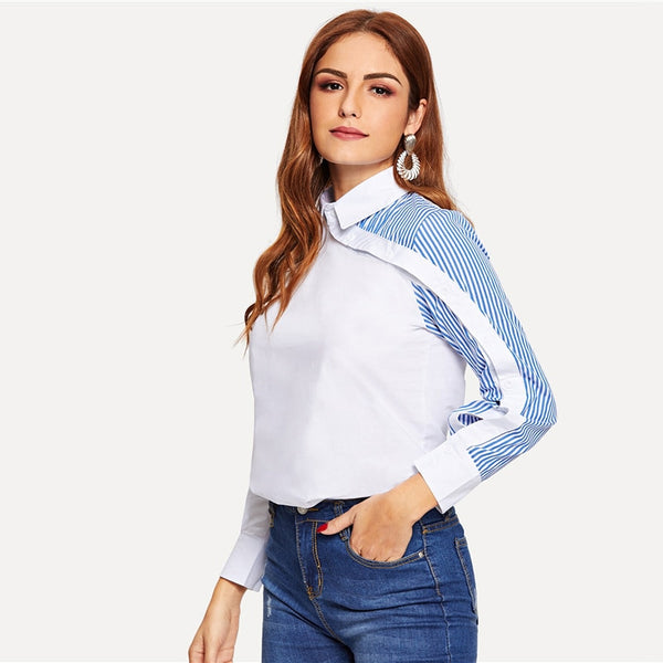 White Striped Button Decoration Shirt Classy Blouse Women Summer Autumn Asymmetric Placket Turn down Collar Office Blouses - Modemoven